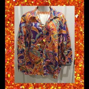Ralph Lauren Purple Paisley Button Down Shirt ~ 3X